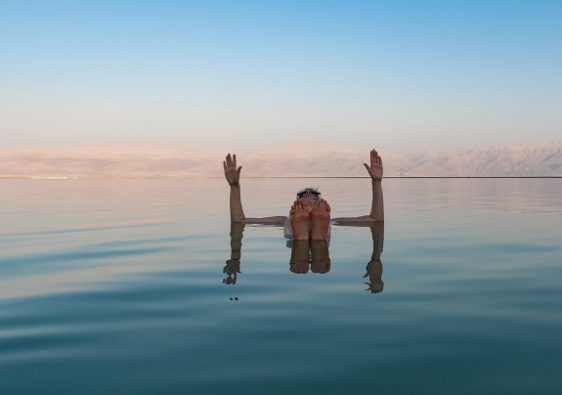 Floating in the Dead Sea Jordan