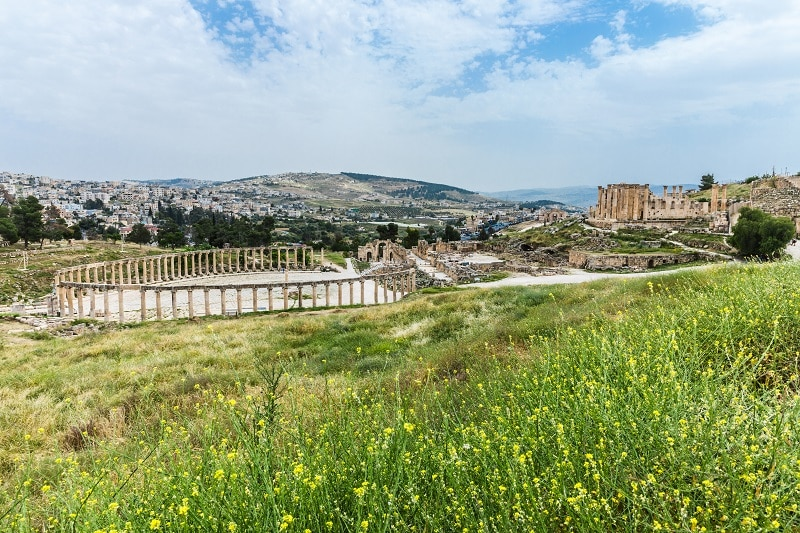 Jerash's Oval Forum and the Temple of Artemis during Spring