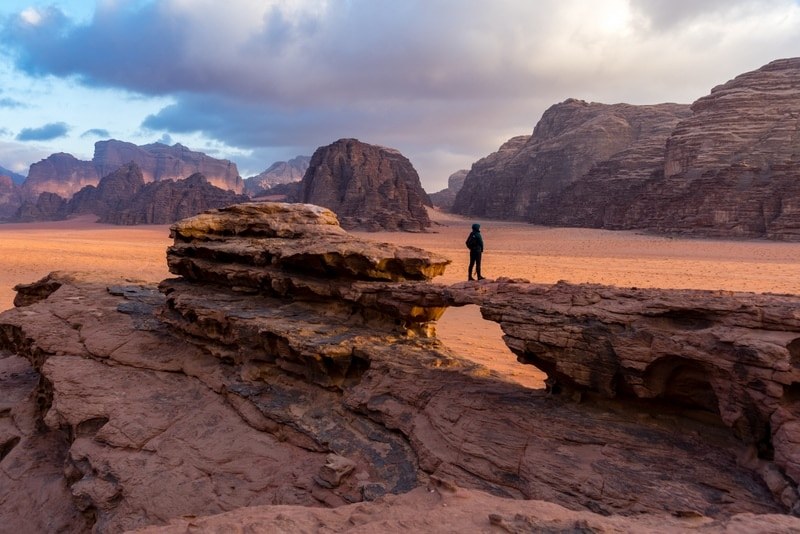 Hiking in the desert of Wadi Rum