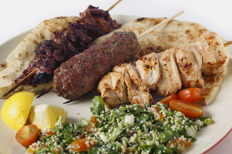 Mixed Kebabs Kofta, chicken Tawook and sumac chicken